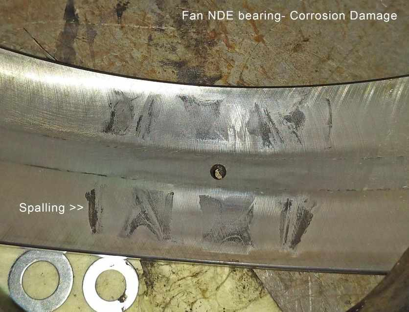 rms fan NDE bearing defect root cause spalling